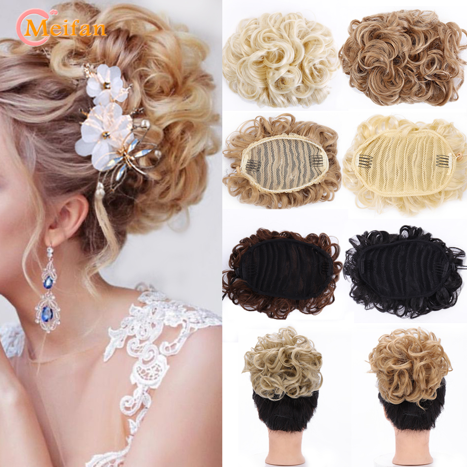 MEIFAN Short Wavy Synthetic Big Chignon Two Plastic Comb Elastic Band Clips In Hair Extensions 8 Colos Headwear Accessories