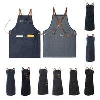 Ladies Men Leather Strap Denim Bib Apron BBQ Florist Baker Bartender Barista Chef Work Uniform
