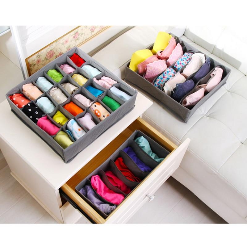 3 In 1 Underwear Storage Box For Ties Socks Shorts Bra Underwear Organizer Divider Drawer Lidded Closet Organizer