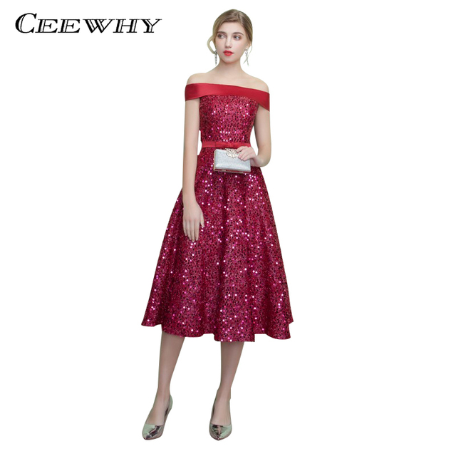 6f512064cb7 CEEWHY Middle Long Boat Neck Sequined Vestidos de Festa Vestido Longo Para  Casamento A-line Burgundy Evening Dress Elegant