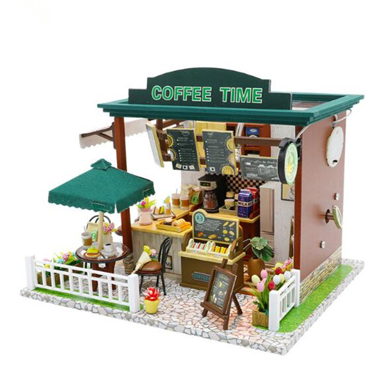 Cute house DIY House wooden Miniature Coffee shop Wooden Building Architecture with Furniture child Toys цена