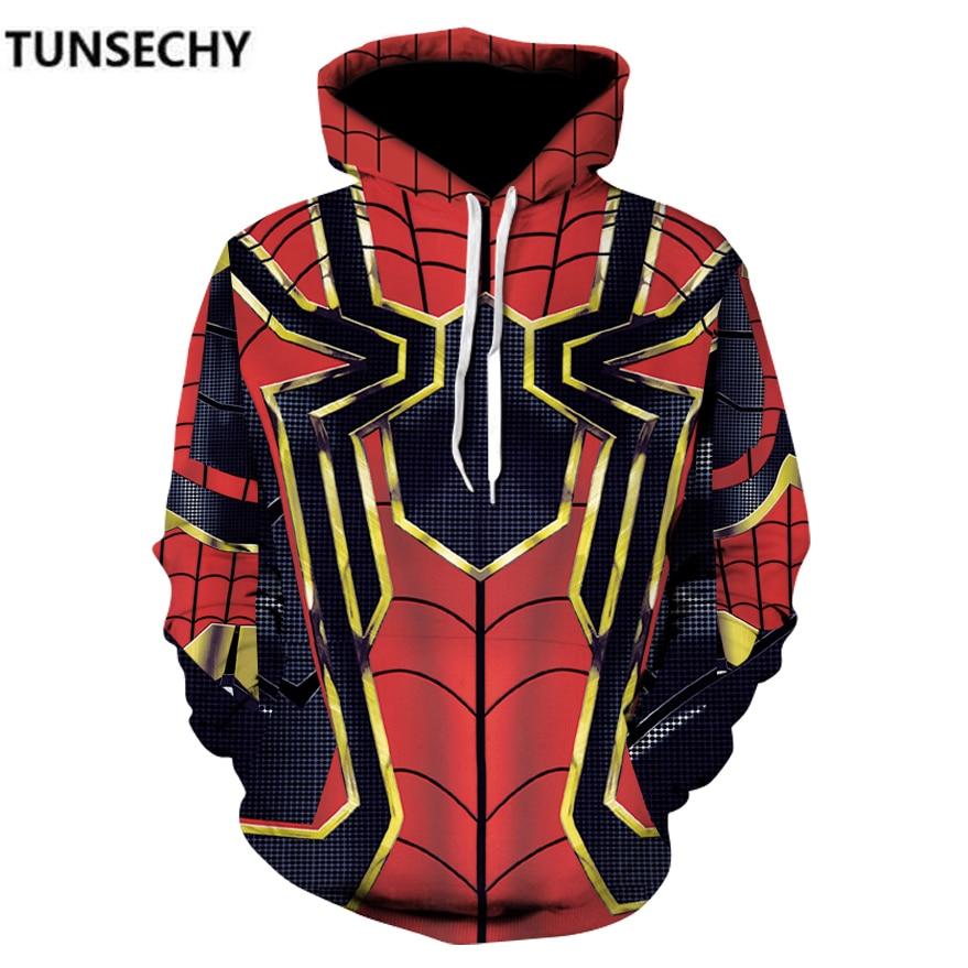 TUNSECHY 2018 Men hoodies Fashion men Spiderman 3D print Hoodies Streetwear Casual Sweatshirt  Size S-XXXL Free transportation