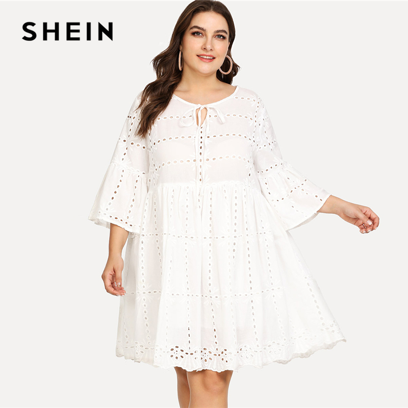 SHEIN Eyelet Embroidery Tied Neck Smock Dress 2018 Summer Round Neck Three Quarter Sleeve Dress Women Plus Size Vacation Dress striped tied neck flowy dress