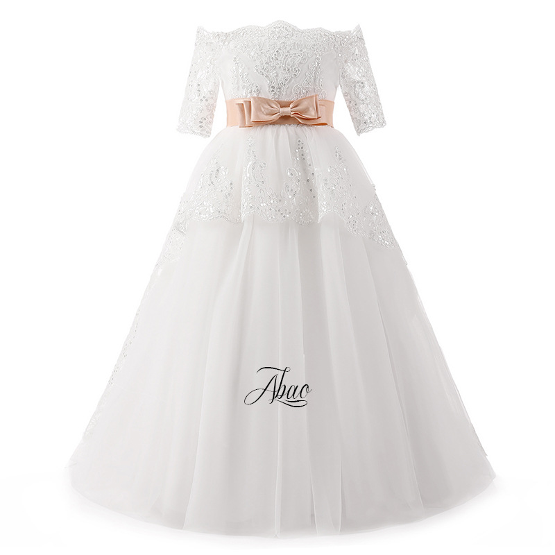 DC004 American and European Girl's Bow tie Belt Drill ball Gown flower child's wedding Dress Girl's princess Dress