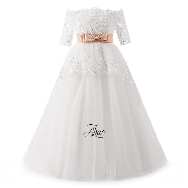 DC004 American and European Girl's Bow tie Belt Drill ball Gown flower child's wedding Dress Girl's princess Dress цены онлайн