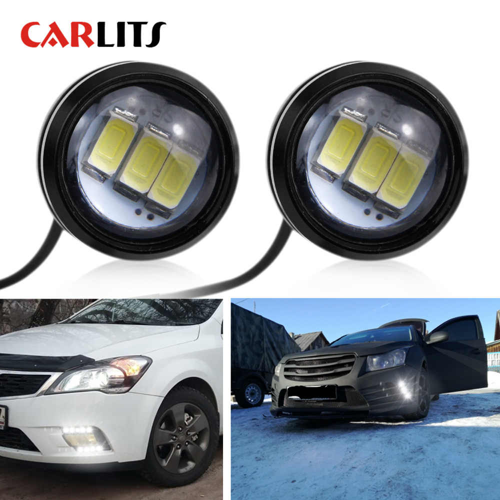 CARLITS 2PCS Car DRL Eagle Eye LED Daytime Running Light Motorcycle Screw Lamp Source Waterproof 5630SMD Car Styling