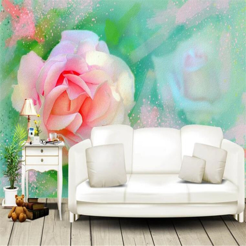 Custom Wallpaper 3D Stereoscopic Rose photo Wall Mural Hand Painted Watercolor Wallpapers Wall Papers for Living Room Home Decor custom home improvement 3d wall paper rolls photo wallpaper for company living room backdrop 3d mural desert came wallpapers
