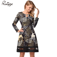 Ruiyige 2017 Autumn Women Christmas Floral Print Full Sleeve Mesh Hollow Out Tunic High Waist Party