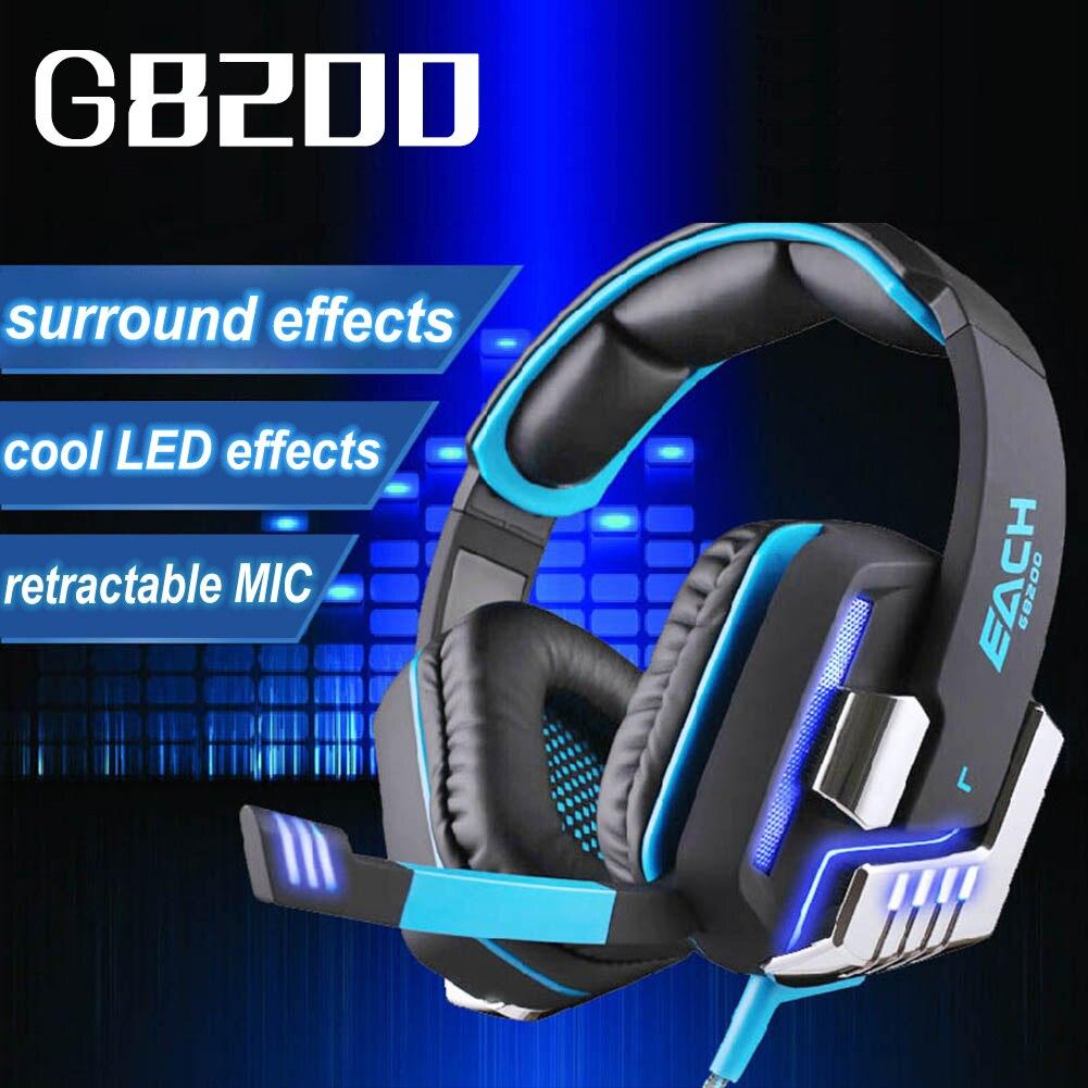 ФОТО EACH G8200 Gaming Headphone 7.1 Surround USB Vibration Game Headset Headband Earphone with Mic LED Light for PC Gamer PS4
