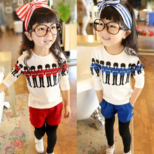 Children with two girls long-sleeved casual T-shirt suit clothes F D370 han edition of new fund of 2016 autumn girl