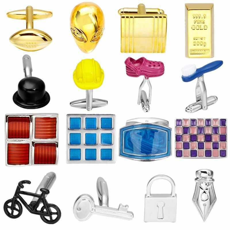 2018 Fashion Hot sale Cufflinks Casual Daily life designs Bike Shoes safety hat Lock men brand cufflinks whoelsale retail