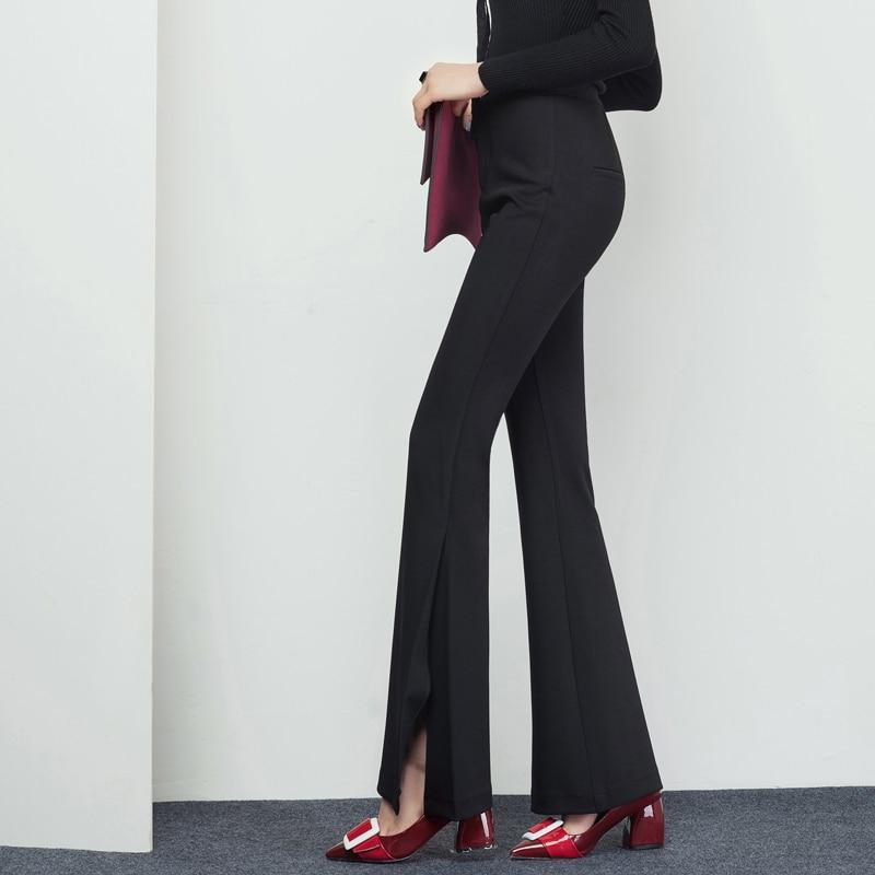 Fashion Womens Sexy Side Split Flare Leg Pants Woman