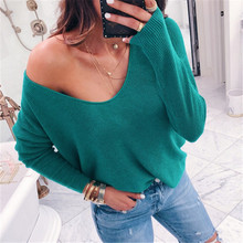 Sexy Women Off Shoulder Knitted Sweaters Casual Loose Solid Color V-Neck Sweater 2019 Spring Autumn Long Sleeve Pullovers Tops ronnykise knitted sweaters women fashion pullovers long sleeve sexy v neck casual tops autumn and winter cashmere sweater