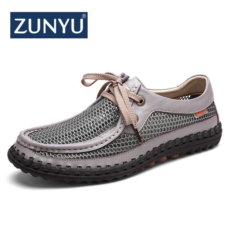 Confortable De Mocassins Paquet Sport Cuir Up New Summer Lace 2018 Chaussures Respirante Véritable Hommes gray Khaki Maille Zunyu Mode ZSx0w8q