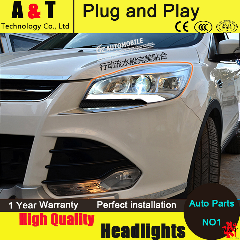 Auto Lighting Style LED Head Lamp for Ford Kuga headlight assembly 2013-2014 Escape led drl H7 with hid kit 2 pcs. hireno headlamp for 2013 2015 ford kuga escape se headlight headlight assembly led drl angel lens double beam hid xenon 2pcs