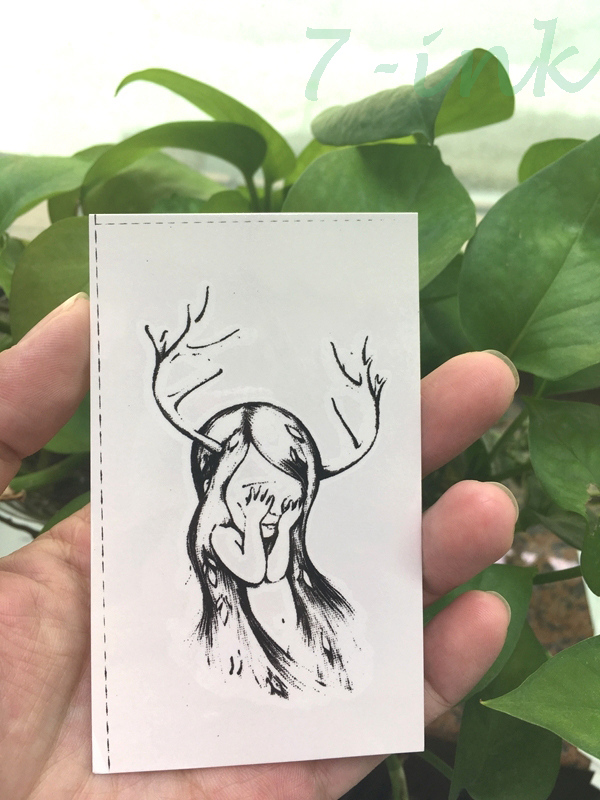 Water Transfer tattoo shy buckhorn gril tatoo Waterproof Temporary Tattoo for woman man 10.5*6 cm
