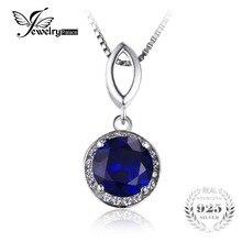 JewelryPalace 2.5ct Corte Redondo Creado Azul Zafiro de Halo Colgante Esterlina del Sólido 925 de Plata Sin una Cadena 2016 Nuevo Para Las Mujeres