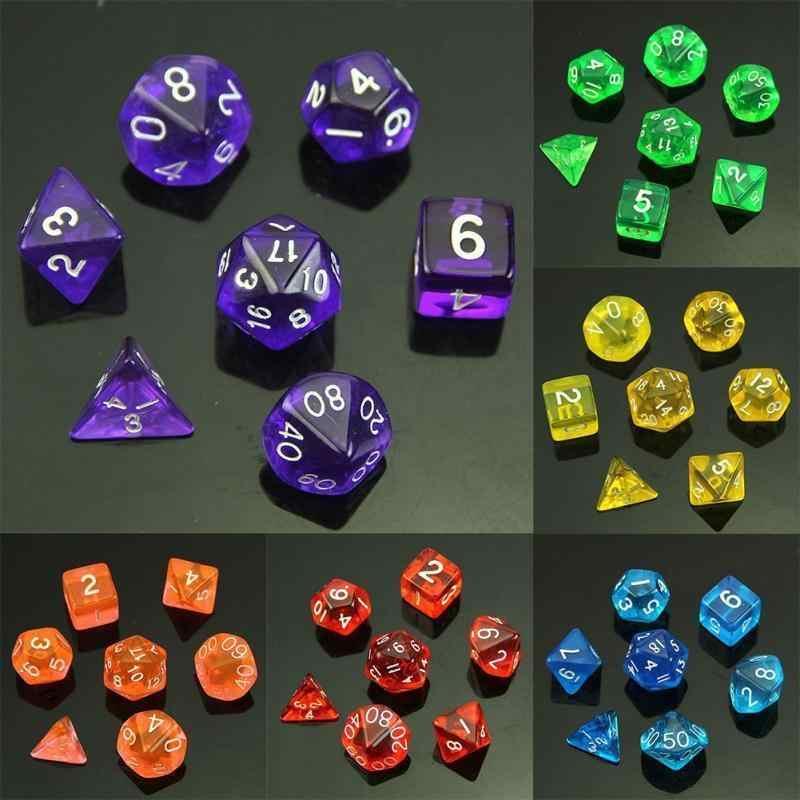 Jentren 7 pezzi di dadi a due colori D4 D6 D8 D10 D12 D20 Gioco di ruolo su pi/ù lati Gioco di dadi colorati a pi/ù facce Dadi unici funzionali Colore: viola e blu