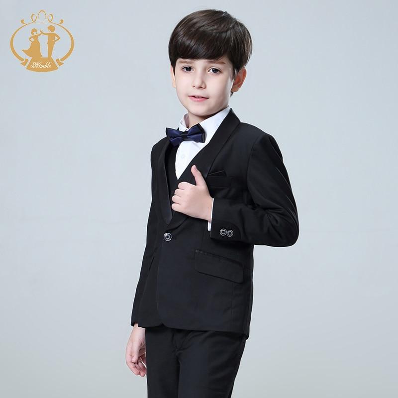 Nimble Boys Suits for Weddings Costume Enfant Garcon Mariage Black Suit for Boy Single Button Kids Wedding Suit Blazer Boys цены