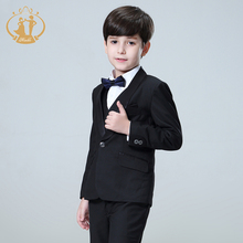 цена Nimble Boys Suits for Weddings Costume Enfant Garcon Mariage Black Suit for Boy Single Button Kids Wedding Suit Blazer Boys онлайн в 2017 году