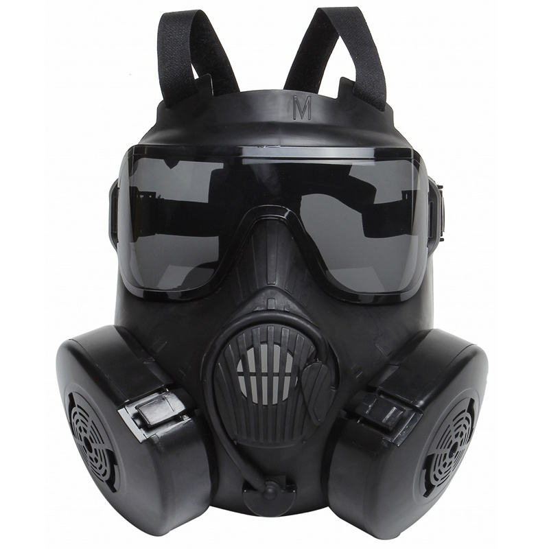 DC15 Tactical Airsoft Paintball Skull Protective Full Face M50 Gas Mask With Fan Black Military CS