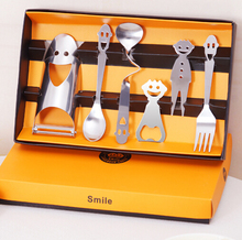 2015 NEW 6PCS/SET Creative stainless steel fashion engraved with a smile lunch box spoon fork  tableware sets Promotional Gift