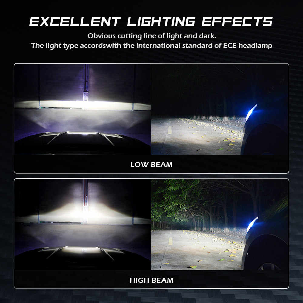 NOVSIGHT New Style Led Car Headlight super H7 H8 H11 9005 9012 D1 D2 turbo LED 90w 12000lm 6500k white PROJECTORS type headlight