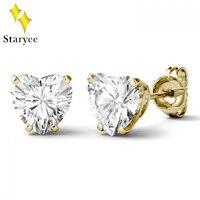 Подлинная 14 К 585 белого золота отодвинуть 1 карат сердце Лаборатория Grown Алмаз Moissanite серьги с бриллиантами шпильки для для женщин ювелирные и