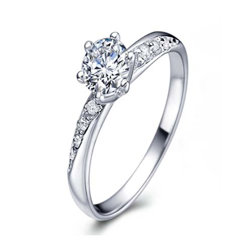 06CT Round LC Synthetic Diamonds Engagement Ring Pure Silver Fine