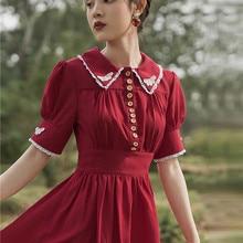 Милое бордовое шифоновое платье для стройной Леди Ретро Винтаж отложной воротник короткий рукав лето Mori Girl длинные платья Vestidos