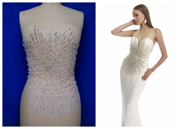 handmade silver white sew on rhinestones pearl applique on mesh crystals trim patches 40*32m for dress DIY accessories