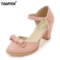 TAOFFEN Size 32 43 Women High Heels Sandals Leisure Buckle Strap Chunky Heel Shoes Women Summer