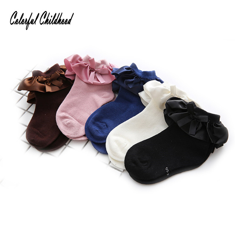 5pairs/lot Autumn baby socks Candy Colors Retro Lace Ruffle Frilly Ankle Short Socks Kids Princess Baby Girl Socks 0 to 7t ...