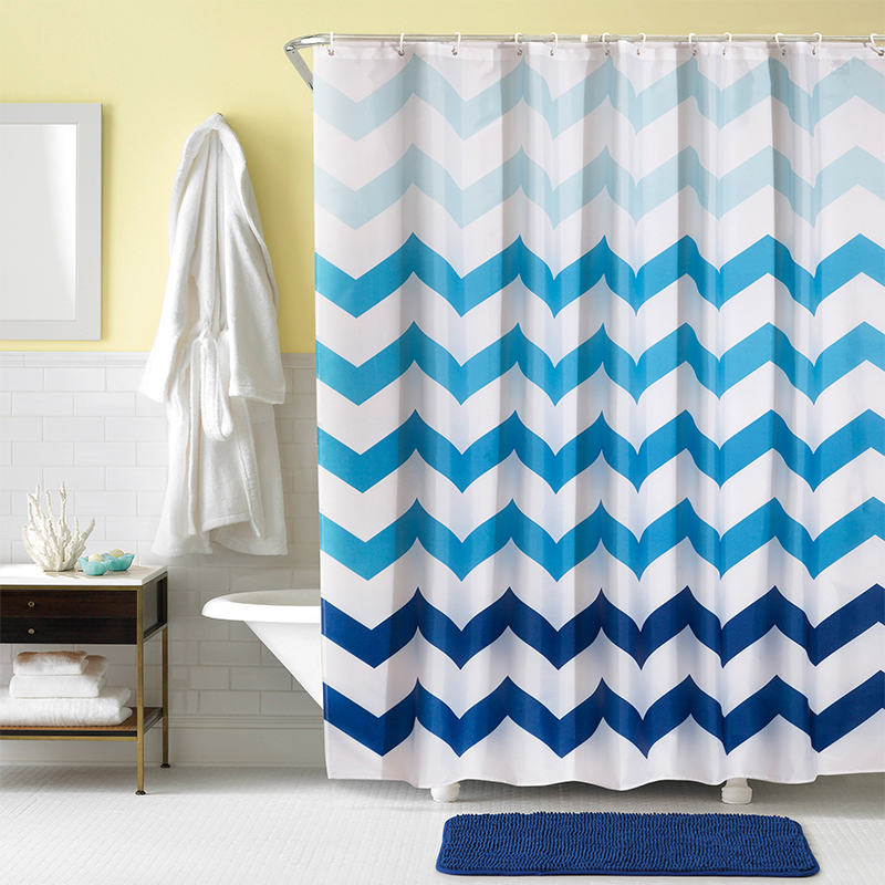 YUN YANG Brand New Quality Blue Wave Shower Curtain Summer Bathroom Curtain Waterproof Mildew Proof Polyester Shower Curtain