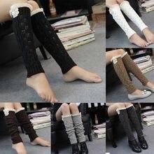 72c4c4d455233 Femmes hiver chaud jambières tricoté Crochet bouton dentelle Long haut genou  chaussettes longues chaussettes femmes sur
