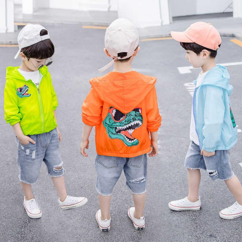 ילדי בני בנות מעיל 2019 קיץ דינוזאור מים עמיד סלעית מעיל רוח לבן שחור לילדים בני הלבשה עליונה 8 שנה