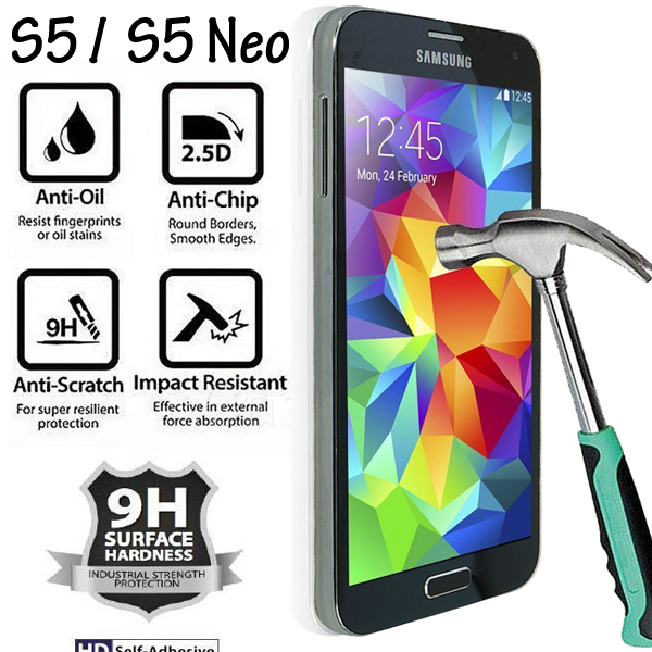 SM-G900H G900FD SM-G900F დამცავი მინა Samsung S5 / S5 Neo Tempered Glass Glass for Samsung Galaxy S5 ეკრანის დამცავი 9H