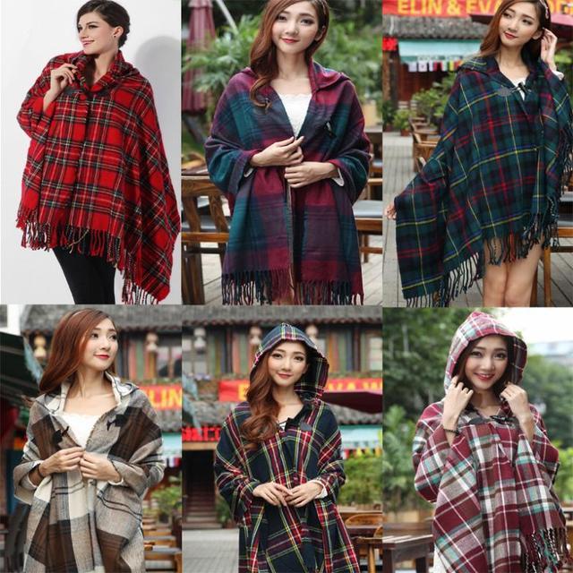 Korean version of plaid hooded cloak cape dual British Grand Bohemian scarf shawl Free Shipping