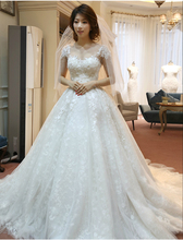 Charming Ball Gown Wedding Dress Short Sleeve Scoop Neck Appliques Chapel Train Sheer Vestido De Noiva NM 749