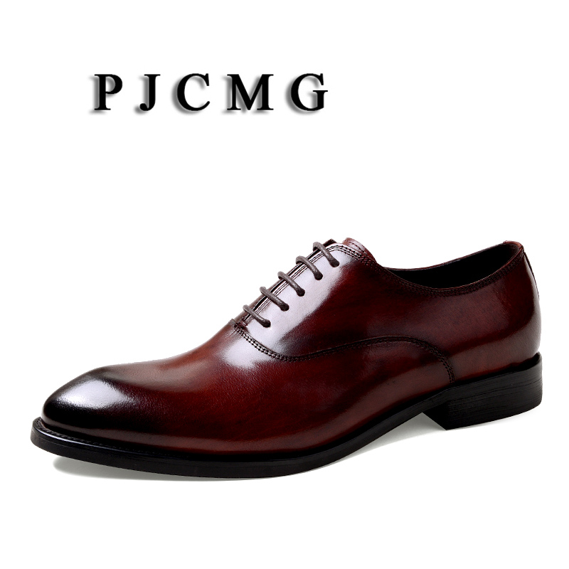 PJCMG Fashion Men Oxford Wedding Male Lace-Up Pointed Toe Solid Carved Office Genuine Leather Formal Mens Dress Shoes PJCMG Fashion Men Oxford Wedding Male Lace-Up Pointed Toe Solid Carved Office Genuine Leather Formal Mens Dress Shoes