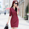 2017 Spring Broadcloth Cotton V-neck Dress Chinese Traditional Vestidos For Oriental Above-knee Dresses Modern Women