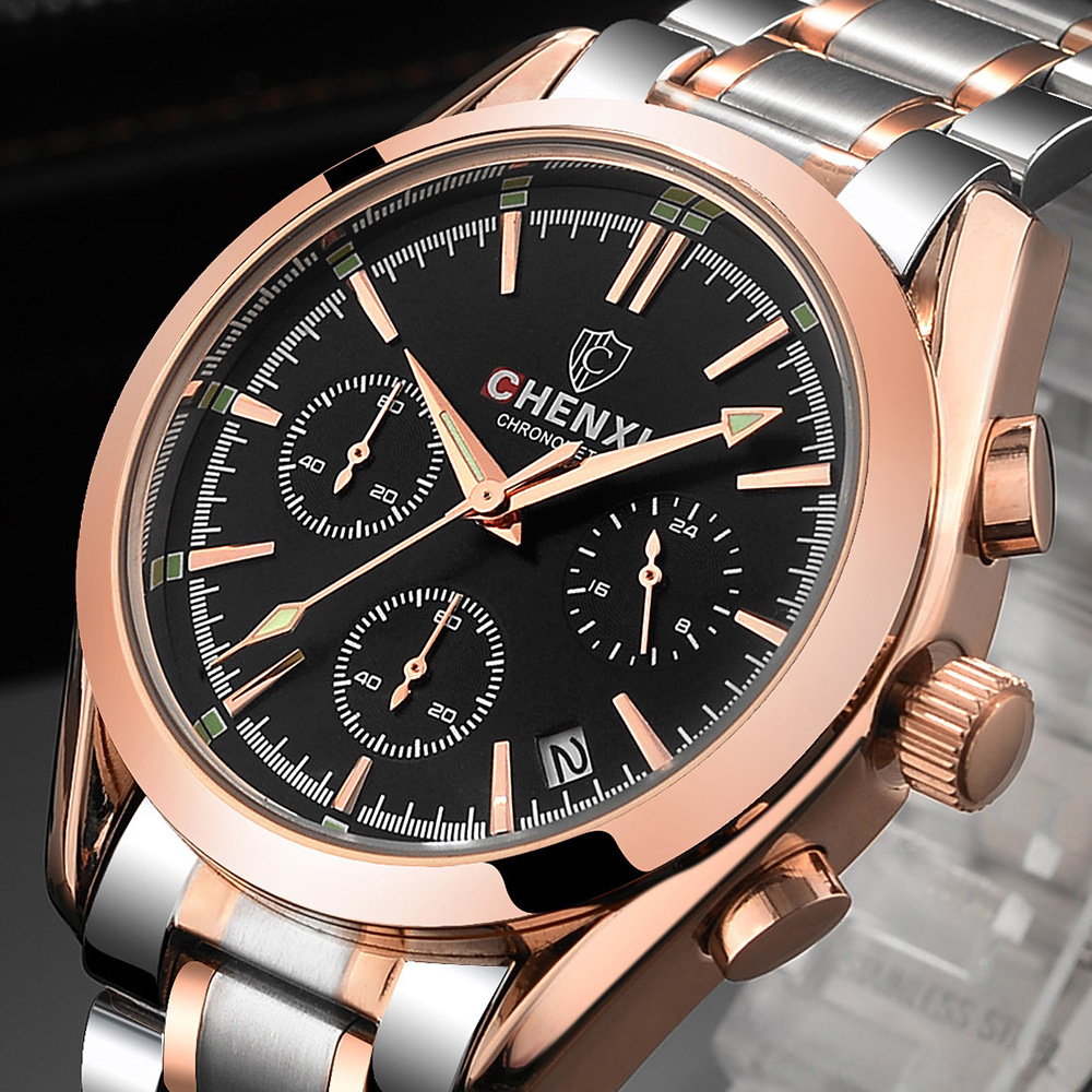 Luxury Brand CHENXI Men Watch Rose Gold Elegant Business Dress Quartz Wristwatch for Man Stainless Steel Waterproof Sport luxury top brand chenxi men dress watch stainless steel gold silver quartz wristwatch waterproof retro male business clock