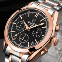 Luxury Brand CHENXI Men Watch Rose Gold 2017 Elegant Business Dress Quartz Wristwatch For Man Stainless