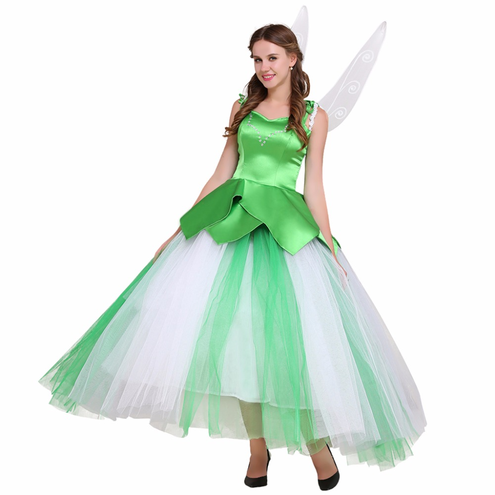 Custom Made Tinkerbell Green Long Skirt Dress With Wings Adult Women Fancy Party Wedding Dress W0516