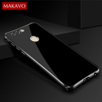 MAKAVO For Huawei Honor 8 Case Luxury Shiny Aluminum Metal 2 In 1 Cover For Honor