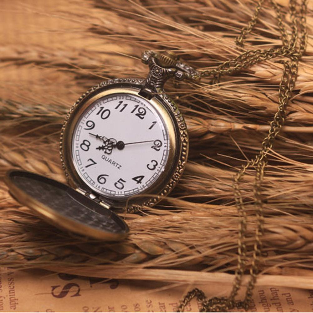 Vintage Bronze Steampunk Pocket Watch Roman Numerals Quartz Necklace Pocket  Watches Chain Men Women Clock Relogio De Bolso *A