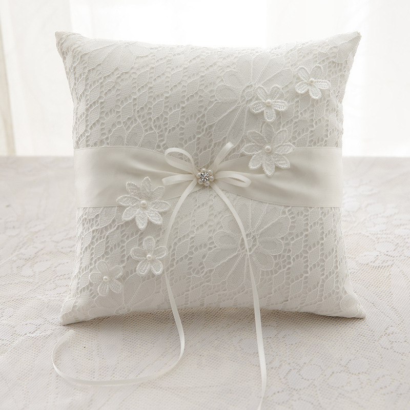 20x20cm Lace Pearl Wedding Ring Pillow Ivory Cushion Bearer With Flower Buds Beach Ceremony Pocket 8 Inch Engagement Supplies20x20cm Lace Pearl Wedding Ring Pillow Ivory Cushion Bearer With Flower Buds Beach Ceremony Pocket 8 Inch Engagement Supplies