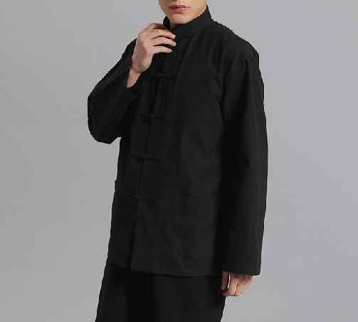 13 色純粋な綿の男性唐スーツ男性長袖シャツカンフー太極拳の制服レイ瞑想服武道芸術服