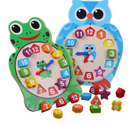Kids Wooden Toys Big Cartoon Owl Frog Digital Clock Animal Puzzle Toy Early Learning Educational Toy For Children Boys Girls