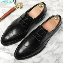 2019 New Vintage Men Dress Shoes Genuine Leather Formal Male Oxford Italian Classic Lace-up Mens Brogue